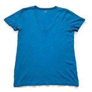 J. Crew Women's Blue Tissue V-neck T Shirt